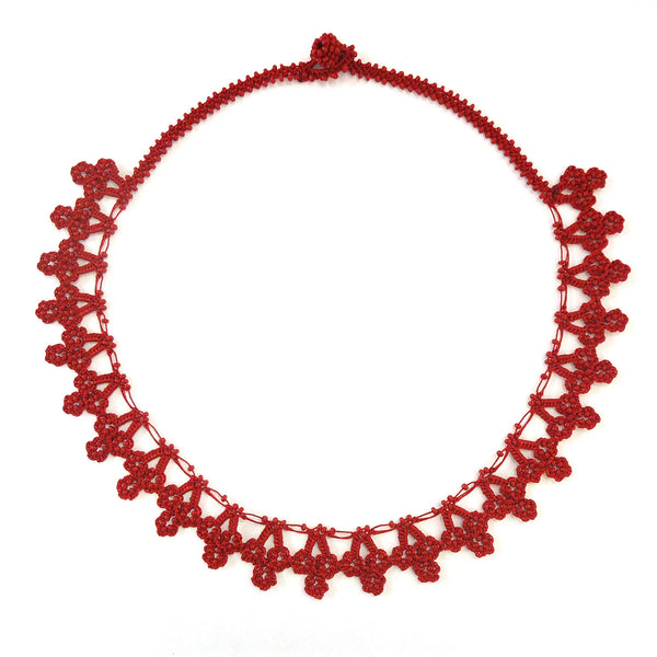 Silk Crochet and Seed Bead Necklace