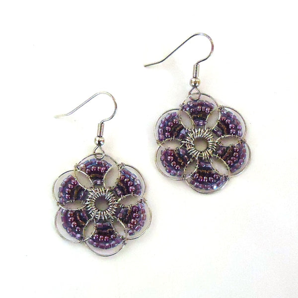 Seed Bead Flower Earrings