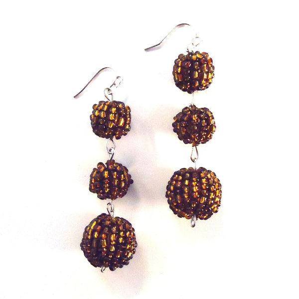 Beaded Triple Ball Earrings