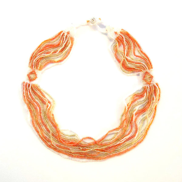 Coral and Cream Beaded Necklace