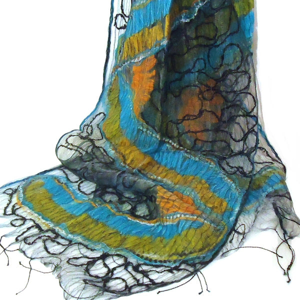 Silk Scarf with Embroidery - Turquoise
