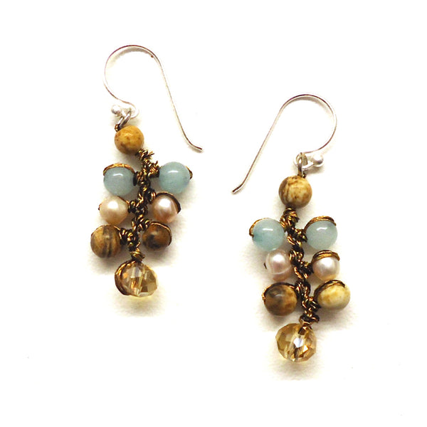 Aqua Bead Earrings