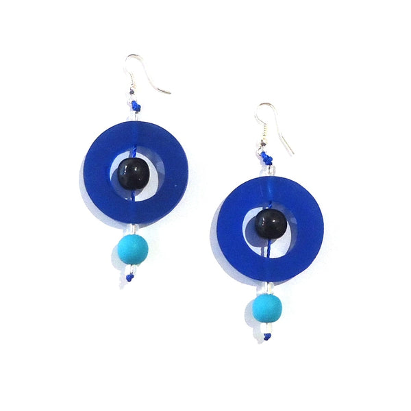 Circle Resin Earrings - Blue