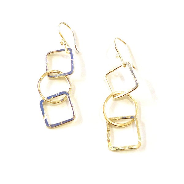 Hammered Silver Geometric Earrings
