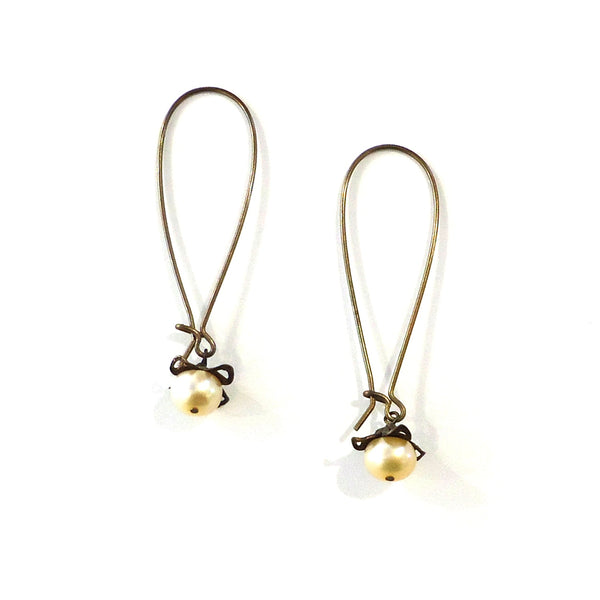Brass-Capped Pearl Earrings