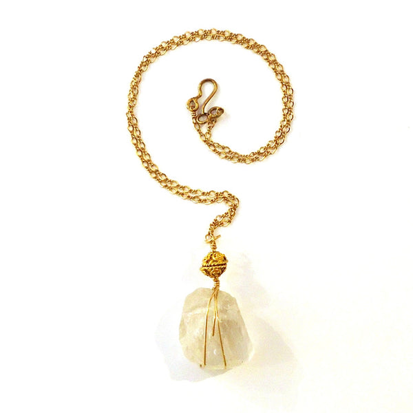 Clear Quartz Gold Necklace