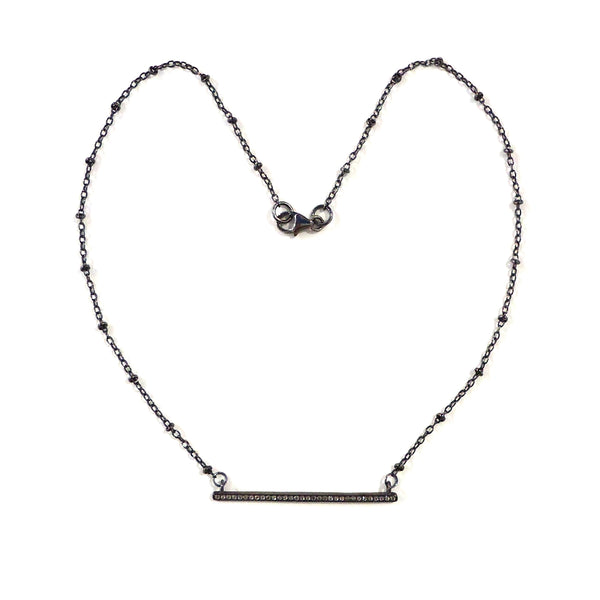 Gunmetal Bar Necklace