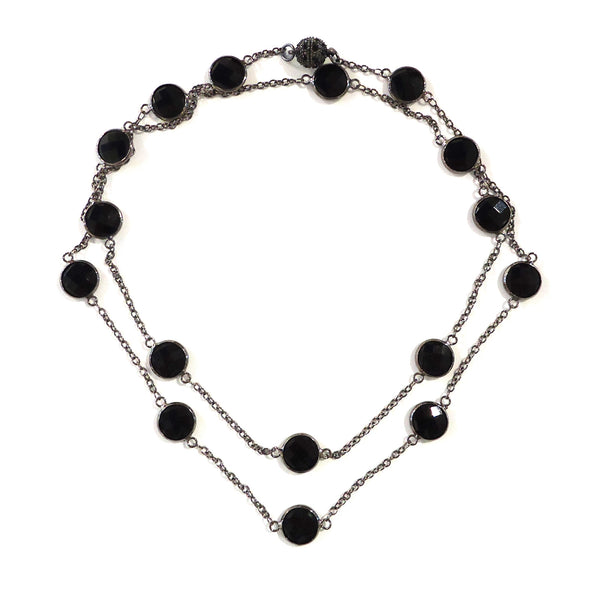 Gunmetal & Black Crystal Necklace