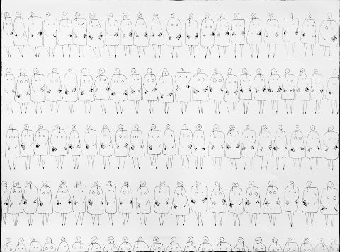 Ink line drawing of rows of woman standing side by side by Andrea Beizer
