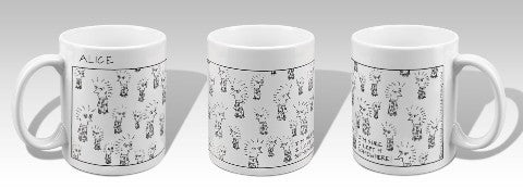 Three views of a white ceramic mug featuring the cartoon Alice by Andrea Beizer.