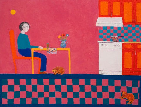 Oil painting in pink, blue and orange colors of woman sitting at kitchen table  by Andrea Beizer