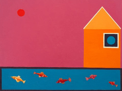 Oil painting of orange house with pink sky and blue lake with fish by Andrea Beizer