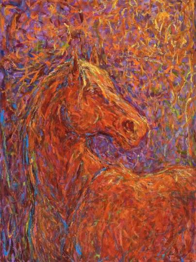 Expressionistic oil painting of startled horse looking over shoulder in reds, yellows and purple by Alysa Bennett