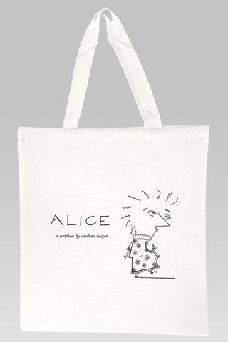 White cotton tote bag featuring the cartoon character Alice by Andrea Beizer.