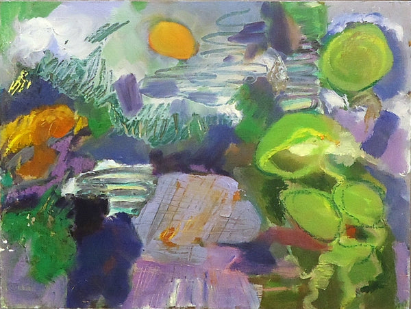 Oil painting of an abstracted landscape in purple, green and orange colors