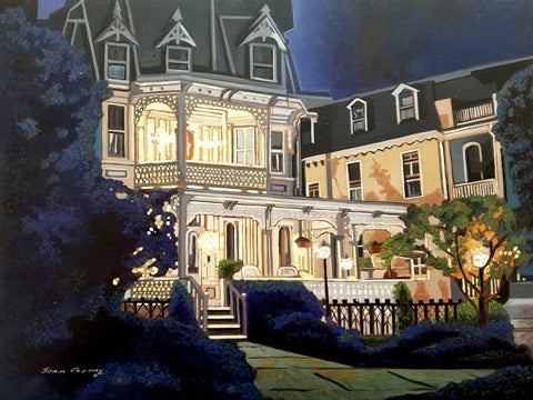 Night scene painting of an ornate Victorian house with lights glowing against a deep blue sky.