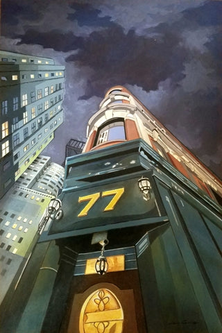 Night scene painting with exaggerated perspective looking up at a bright city building against a dark stormy sky.