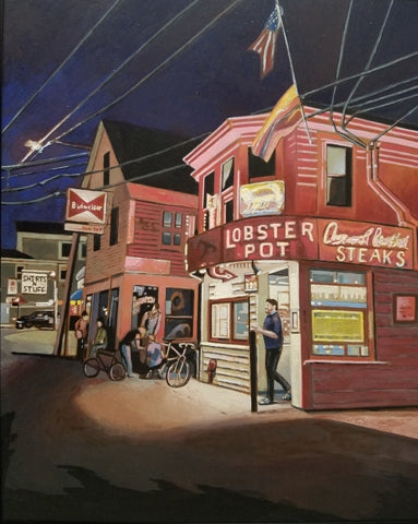 Night scene painting in bright colors of a city street and restaurant against a dark blue sky.