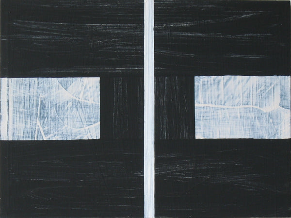 Geometric abstract painting by Alexander Cheves with large rectangular blocks in grey and black.