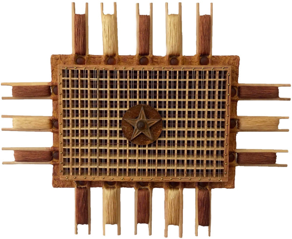 Geometric rectangular wall sculpture in neutral tones made of paper pulp, bamboo and mixed-media.