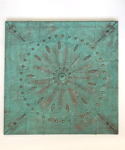 Square abstract mixed-media and found objects painting with tactile circle and floral pattern in pale aqua and brown.