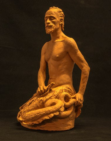 Terra cotta sculpture of the mythylogical figure Triton by Philadelphia artist Suzanne Griffith-front