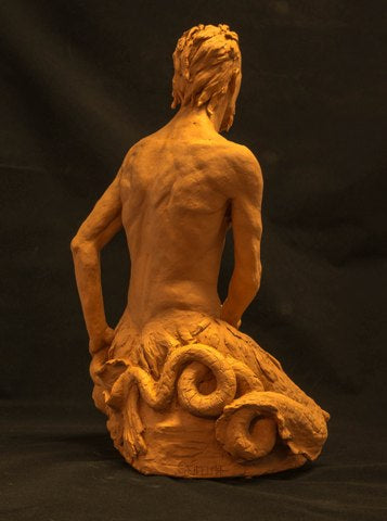 Terra cotta sculpture of the mythylogical figure Triton by Philadelphia artist Suzanne Griffith-back