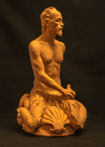 Terra cotta sculpture of the mythylogical figure Triton by Philadelphia artist Suzanne Griffith-side