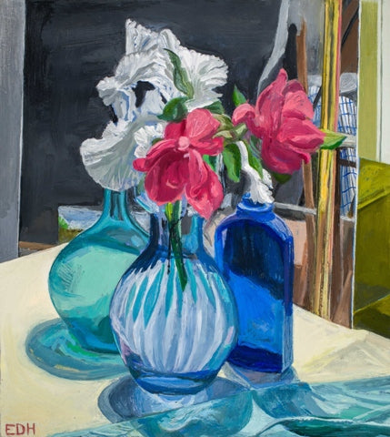 Elizabeth Heller: Still Life with Roses and Iris