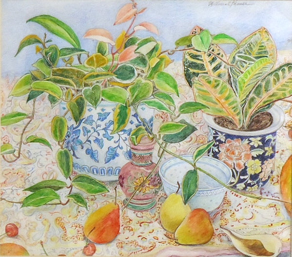 Millicent Krouse: Crotons, Pears, Porcelain Vase on Paisley