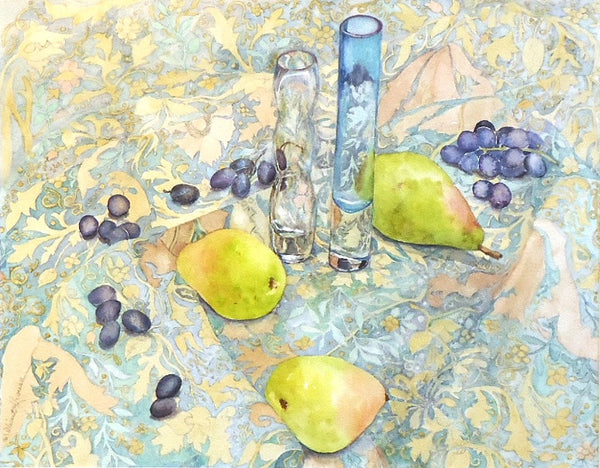 Millicent Krouse: Grapes, Pears, Glass on Paisley