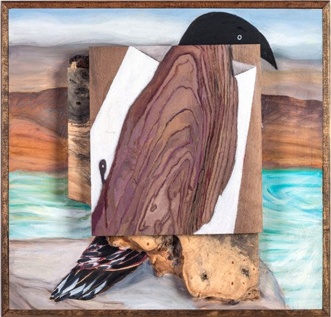 Oil painting on assembled pieces of wood of a bird in a square frame by Andrea Lyons