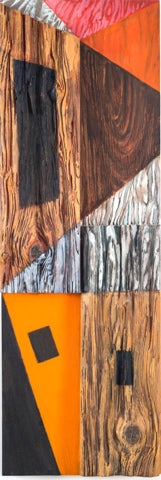 Vertical rectangular oil painting of abstracted houses on assembled pieces of wood by Andrea Lyons