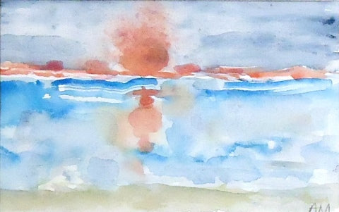 Watercolor painting of red sunset over water from Cape May NJ by Amanda Moseley