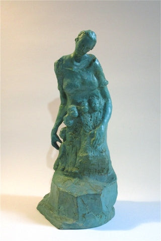 Bronze sculpture of a mother with three children between her arms by Philadelphia artist Colleen O'Donnell