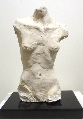 White clay sculpture of a female torso by Philadelphia artist Peggy O'Donnell