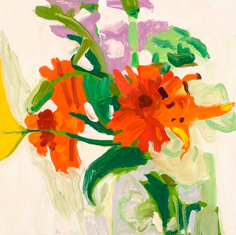Liz Price: Orange Lilies with Lavender