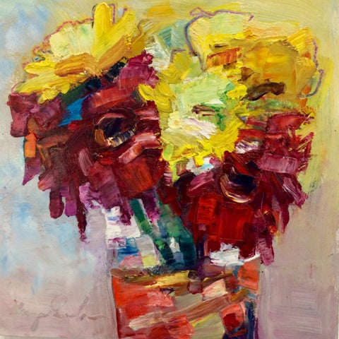 Monique Sarkessian: Still Life with Red Daisies, Sunflowers and Daylilies