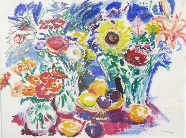 Karen Segal: Three Bouquets with Fruit