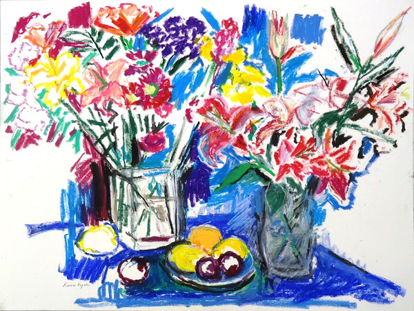 Karen Segal: Two Bouquets with Fruit