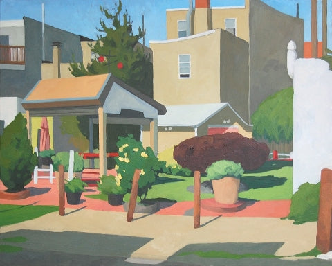 Oil painting of Philadelphia backyards in morning light by Allison Syvertsen