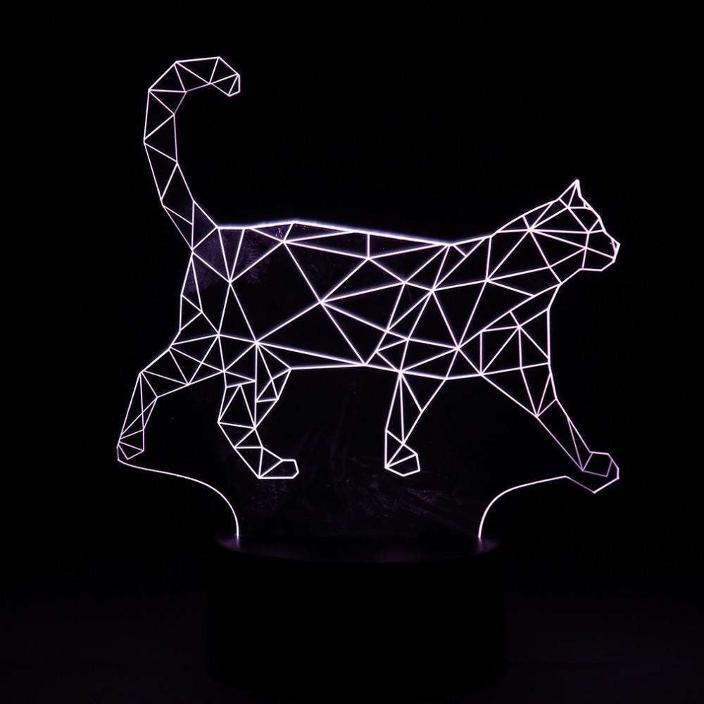 3D Walking Cat Wireframe LED