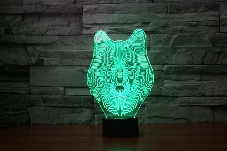3D Wolf Wireframe LED
