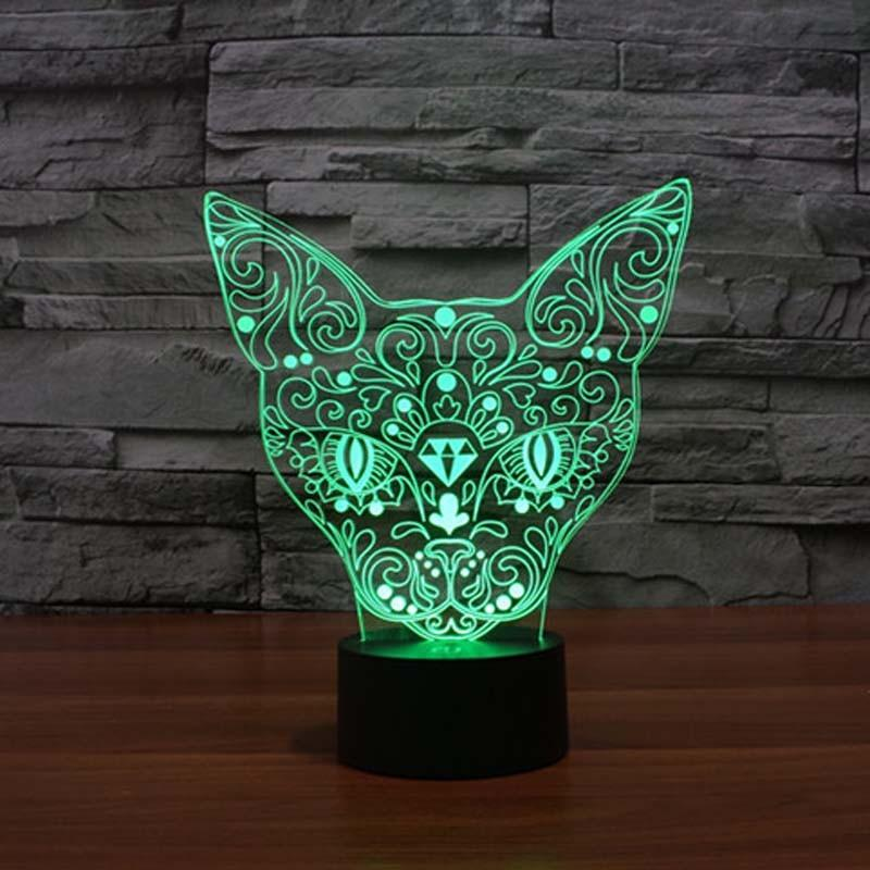 3D Spinx Cat Wireframe LED