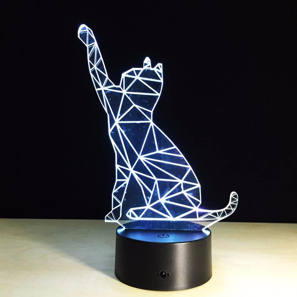 3D Standing Cat Wireframe LED
