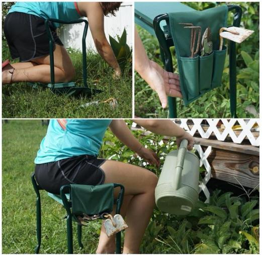 Garden Kneeler with Handles Stainless Steel Folding With Pocket