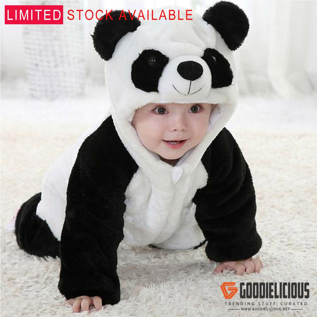 Unisex-baby Winter Flannel Romper Panda Onesie Outfits Suit