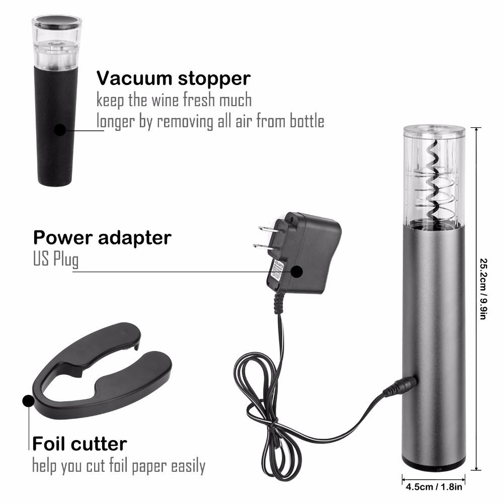 Wine Opener Kit Automatic With Foil Cutter and Vacuum Stopper