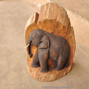 Handmade Elephant Wood Sculpture