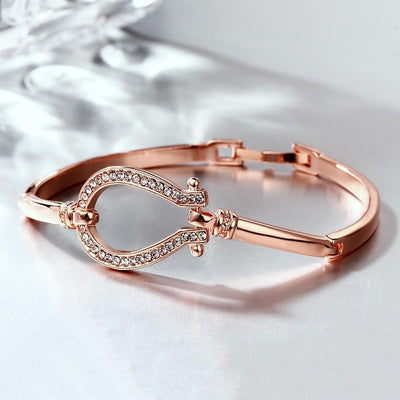 Horseshoe Rose Gold Crystal Bracelet
